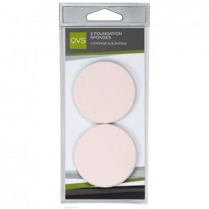 Qvs спонжи круглые для нанесения основы макияжа любого типа (кремообразной и водной) 2 шт